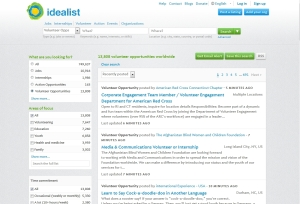 Volunteer search feature on Idealist.com